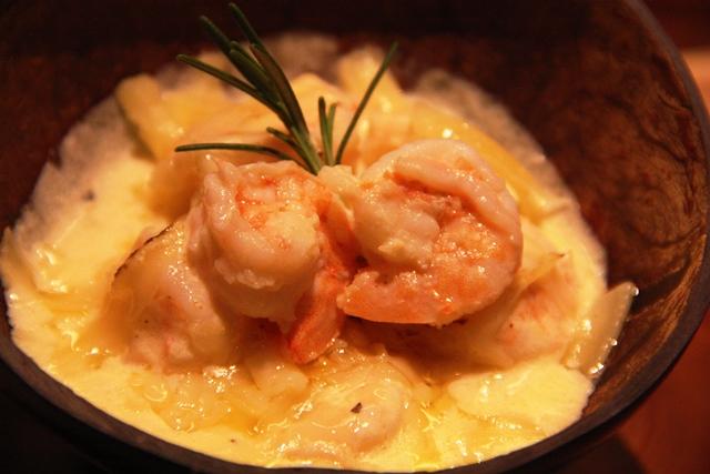 Camarão no molho de queijo da chef Juliana